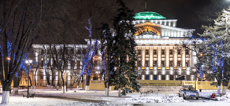 establishment states: ROSTOV-ON-DON, RUSSIA- JANUARY 01-The building of the State Bank of Russia in Christmas illuminations (1915,architect M. Peretyatkovich) on January 01;2016 in Rostov-on-Don Editorial