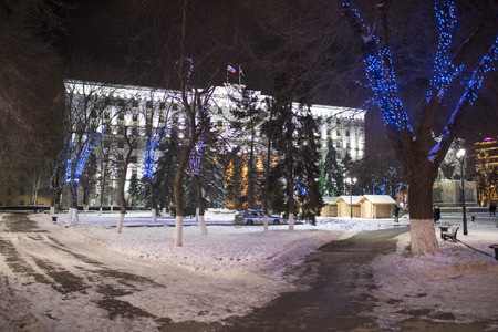 festivities: ROSTOV-ON-DON, RUSSIA- JANUARY 01- Christmas festivities in the regional administration building on January 01;2016 in Rostov-on-Don Editorial