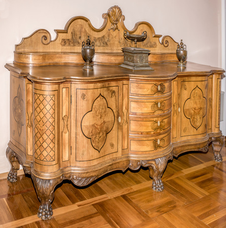highboy: AZOV, RUSSIA- AUGUST 29- Ancient Commode, late 19th century in the museum - reserve on August 29;2015 in Azov