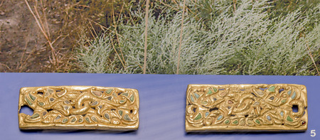 1st century: Two belt plate - 1st century AD. Gold,coral, glass, almandine