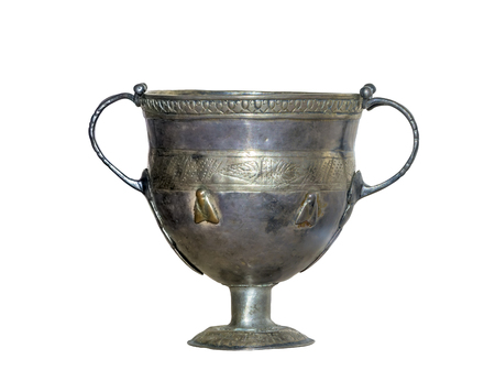 2nd century: AZOV, RUSSIA- SEPTEMBER 20- Goblet. 2nd century AD. Silver, gilding in the museum - reserve on September 20;2015 in Azov