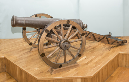 18th: AZOV, RUSSIA- AUGUST 29- Cast-iron cannon, 18th century in the museum - reserve on August 29;2015 in Azov
