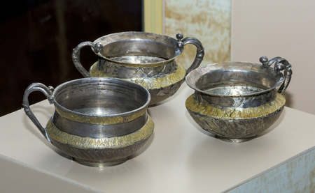 the gilding: AZOV, RUSSIA- SEPTEMBER 20- Kantharos .1 century AD. Silver, gilding in the museum - reserve on September 20;2015 in Azov