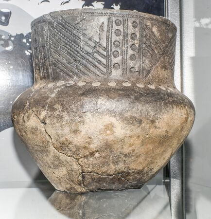 molded: AZOV, RUSSIA- AUGUST 29- Pitcher molded. 2nd millennium BC. Clay  in the museum - reserve on August 29;2015 in Azov