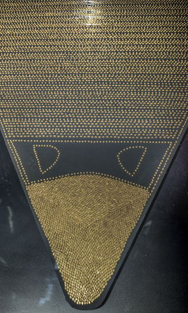 1st century ad: AZOV, RUSSIA- AUGUST 29- Sewn plaques from horse capes - blankets (9634 pcs). 1st century AD. Gold  in the museum - reserve on August 29;2015 in Azov