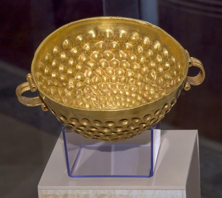 cult: AZOV, RUSSIA- SEPTEMBER 20- Cult bowl .1 century AD. Gold in the museum - reserve on September 20;2015 in Azov