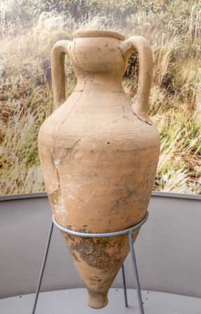1st century: AZOV, RUSSIA- AUGUST 29- Amphora. 1st century BC. Clay in the museum - reserve on August 29; 2015 in Azov