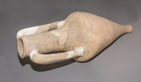 1st century: AZOV, RUSSIA- AUGUST 29- Amphora. 1st century BC.Clay in the museum - reserve on August 29;2015 in Azov