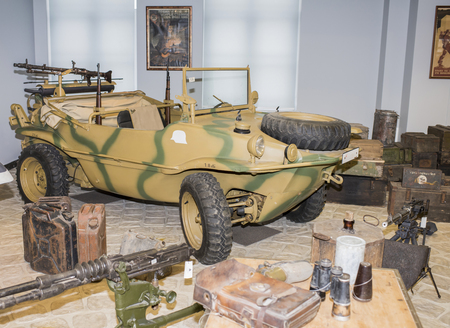 typ: MOSCOW, RUSSIA- DECEMBER 15- Car- amphibious Volkswagen Typ 166. Germany, (1941-1944) at the Museum of technique V.Zadorozhnyj on December 15; 2015 in Moscow Editorial