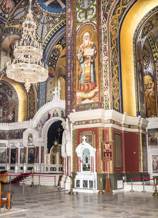 traditional healer: RUSSIA; NOVOCHERKASSK -APRIL 08- The interior of the Holy- Ascension Cathedral on April 08; 2016 in Novocherkassk
