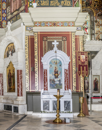 high priest: RUSSIA; NOVOCHERKASSK -APRIL 08- The interior of the Holy- Ascension Cathedral on April 08; 2016 in Novocherkassk