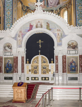 the ascension: RUSSIA; NOVOCHERKASSK -APRIL 08- The interior of the Holy- Ascension Cathedral on April 08; 2016 in Novocherkassk