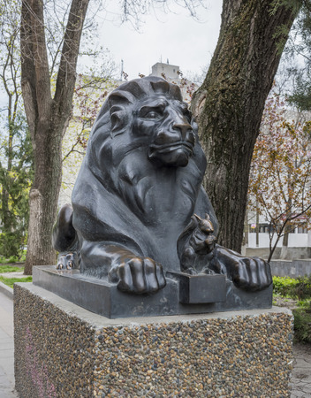 pushkin: ROSTOV-ON-DON, RUSSIA- APRIL 11- Lion guarding the Squirrel with golden nut (based on the story of Alexander Pushkin). Sculptor D.Lyndin on April 11; 2016 in Rostov-on-Don
