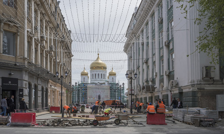 reconstructed: ROSTOV-ON-DON, RUSSIA- APRIL 24 -Builders reconstructed Cathedral Lane on April 24,2016 in Rostov-on-Don