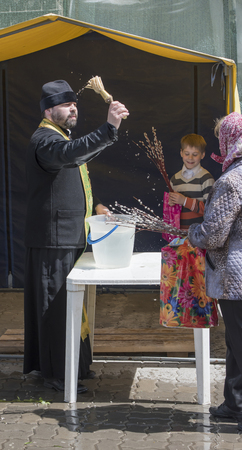christianity palm sunday: ROSTOV-ON-DON, RUSSIA- APRIL 24 -On Palm Sunday people are recruited into the church to the priest could consecrate sprigs.Cathedral of the Nativity of the Blessed Virgin Mary on April 24,2016 in Rostov-on-Don