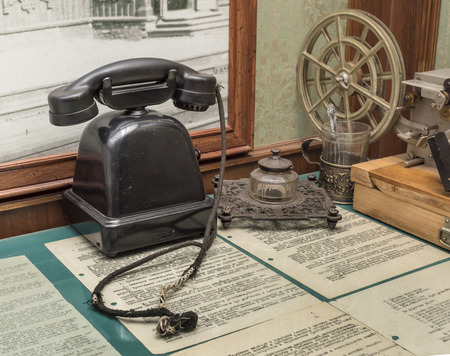 ancient telephone: ROSTOV-ON-DON; RUSSIA- APRIL 28 - Workplace of telegraph operator in the exhibition center Russian railways on April 28,2016 in Rostov-on-Don Editorial