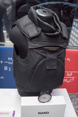 velcro: ROSTOV-ON-DON, RUSSIA- APRIL 28 - The bulletproof vest of nanostructured ceramics at the exhibition center Russian railways on April 28,2016 in Rostov-on-Don