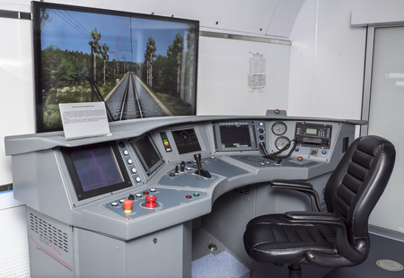 ROSTOV-ON-DON, RUSSIA- APRIL 28 - The simulator of electric trains Desiree Swallow at the exhibition center Russian railways on April 28,2016 in Rostov-on-Don Editorial