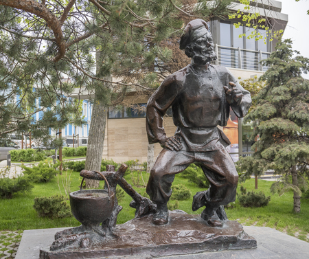 sculptor: ROSTOV-ON-DON, RUSSIA- MAY 01- Monument Shchukaron the work of Mikhail Sholokhov. Sculptor N. Mozhaev on May 01,2015 in Rostov-on-Don Editorial