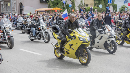 immortal: ROSTOV-ON-DON, RUSSIA- MAY 09- The action Immortal Regiment on motorcycles on May 09,2016 in Rostov-on-Don