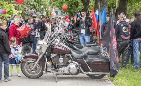 regiment: ROSTOV-ON-DON, RUSSIA- MAY 09- The action Immortal Regiment on motorcycles on May 09,2016 in Rostov-on-Don