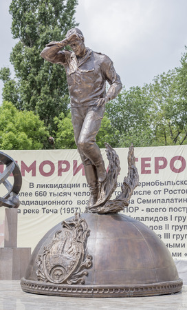 sculptor: Rostov-on-Don, Russia- May 14,2016: Memorial Heroes of Chernobyl Glory,is open to the 30 th anniversary of the accident. Sculptor Sergei Isakov.