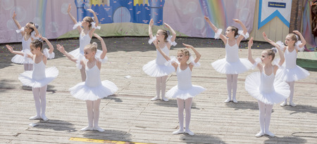 animal tutu: Rostov-on-Don, Russia- May 22,2016: Performance the young ballerinas School-Studio Alla Dukhova Todes on the stage of the park V. Cherevichkin