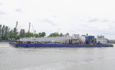 crane parts: Transporting marine crane parts along the river in Rostov-on-Don
