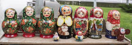 shop skill: Shelf store wooden souvenirs - matryoshka dolls Stock Photo