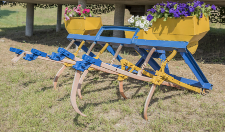 cultivator: Cultivator for processing agricultural fields Stock Photo