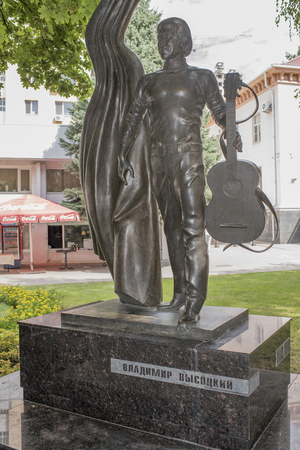 bard: Rostov-on-Don, Russia -August 06,2016: Monument to singer and poet Vladimir Vysotsky on the street Pushkin.Sculptor Anatoly Sknarin