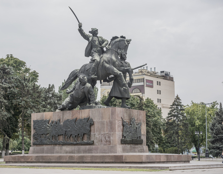 Rostov-on-Don, Russia -August 14,2016: Monument First of horsemen- sculptor E. Vucetich. Established in 1972 in the middle of the Council Square. Dedicated to the heroes of the Civil War, Rostov liberated from the White Guards in 1920