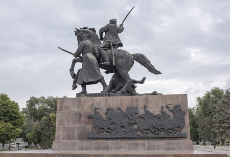 Rostov-on-Don, Russia -August 14,2016: Monument First of horsemen-sculptor E. Vucetich. Established in 1972 in the middle of the Council Square. Dedicated to the heroes of the Civil War, Rostov liberated from the White Guards in 1920 Editorial