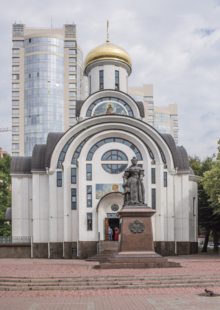 empress: Rostov-on-Don, Russia -August 14,2016: Monument to Empress Elizabeth. Sculptors: S.Oleshnya, A.Dementev. In the background, the parishioners of the church