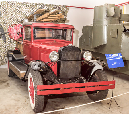 aa: Moscow, Russia -September 04,2016: Fire Trucks GAZ AA PMZ-1 (1934)  in Mosfilm Museum