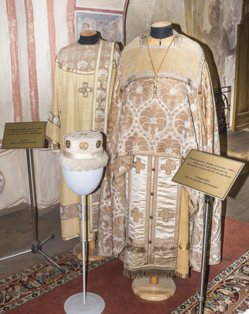 Moscow, Russia -September 04,2016: Priest and deacon (Liturgical vestments) in Mosfilm Museum Editorial