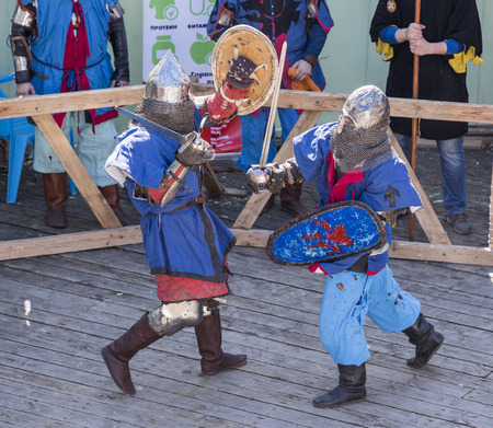 brawl: Rostov-on-Don, Russia- October 01,2016: Fight knights in the arena of the park W. Cherevichkin