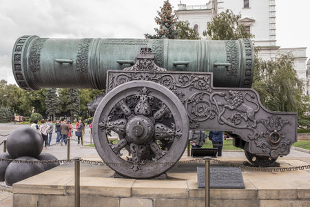 Moscow, Russia -September 09,2016: Kremlin. The Tsar Cannon, cast in bronze in 1586 by A. Chokhov on Cannon yard. Tourists visiting the sights