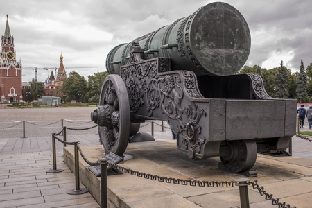 tsar: Moscow, Russia -September 09,2016: Kremlin. The Tsar Cannon, cast in bronze in 1586 by A. Chokhov on Cannon yard. Tourists visiting the sights