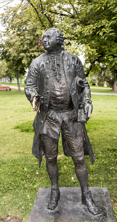 Moscow, Russia -September 09,2016: Sculpture  M.Lomonosov in Muzeon park, bronze. Sculptor L. Baranov Editorial