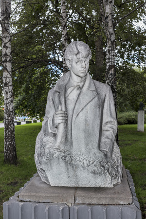 esenin: Moscow, Russia -September 09,2016: Sculpture  Sergey Yesenin in the park Muzeon,marble. Sculptor A. Bichukov Editorial