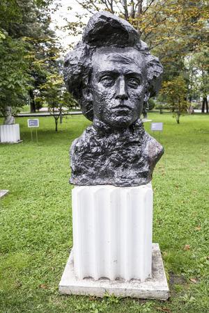 tenet: Moscow, Russia -September 09,2016: Sculpture Chopin in the park Muzeon, bronze. Sculptor I. Tenet