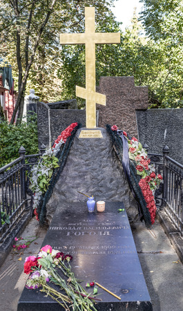 archival: Moscow, Russia -September 10,2016: Novodevichye Cemetery. The tomb of the writer Nikolai Gogol