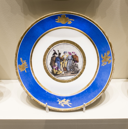 allegorical: Moscow, Russia -September 08,2016: Series of plates with caricatures; allegorical and literary scenes era. Factory Sholshe.Museum of the Patriotic War of 1812