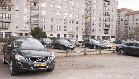 Berlin,Bundesrepublik Deutschland- December 29,2016: The place where was Hitlers bunker. Fyurerbunkere (F�hrerbunker) is located near the Brandenburg Gate.On this site is now parking cars
