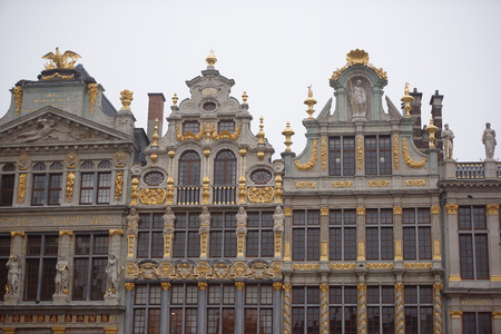 guild: Brussels, Belgium-December 31,2016: Around the Grand Place are located former guild house. Each of them has a unique shape