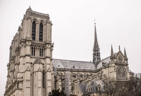 Paris, France- January 01,2017: Notre Dame Cathedral on a winter day