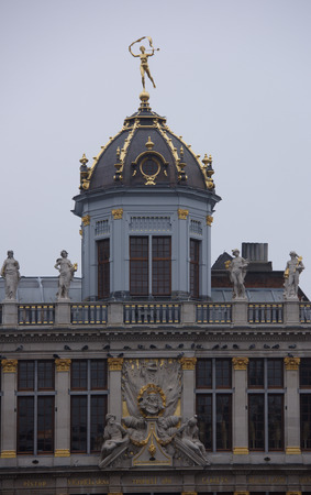Brussels, Belgium-December 31,2016: Around the Grand Place are located former guild house. Each of them has a unique shape