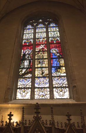 Grand Duchy of Luxembourg, Luxembourg- January 03,2017: Notre-Dame Chatnedral. Colorful window Editorial
