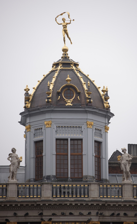 them: Brussels, Belgium-December 31,2016: Around the Grand Place are located former guild house. Each of them has a unique shape